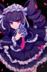 1girl bangs black_background black_hair black_nails blunt_bangs bonnet card celestia_ludenberg commentary_request danganronpa:_trigger_happy_havoc danganronpa_(series) drill_hair frilled_skirt frills gothic_lolita hand_up holding holding_card layered_skirt lolita_fashion long_hair long_sleeves looking_at_viewer necktie playing_card red_eyes red_neckwear sasakama_(sasagaki01) skirt smile solo twin_drills twintails
