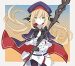 1girl artoria_pendragon_(all) artoria_pendragon_(caster)_(fate) bangs black_bow black_gloves black_ribbon blonde_hair bow buttons cloak double-breasted fate/grand_order fate_(series) gloves green_eyes hair_between_eyes hair_ribbon hat highres holding holding_staff holding_weapon kujiramaru long_hair looking_at_viewer pantyhose ribbon skirt solo staff two-sided_cloak two-sided_fabric upper_body weapon white_skirt white_uniform