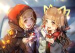 1girl animal_ears bangs blonde_hair blunt_bangs blush cake cloak dual_persona eating fang food fruit hair_ribbon hood hood_up icing jacket kyashii_(a3yu9mi) little_red_riding_hood_(sinoalice) long_sleeves looking_at_another low_twintails open_mouth orange_eyes ribbon sinoalice solo strawberry twintails wavy_hair
