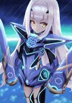 1girl armor armored_dress blue_armor blue_dress blue_legwear breastplate breasts brown_eyes dress fairy_knight_lancelot_(fate) fate/grand_order fate_(series) faulds long_hair looking_at_viewer mask pan_korokorosuke parted_lips pauldrons short_dress shoulder_armor sidelocks sky small_breasts solo thighs weapon white_hair