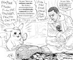 bb_(baalbuddy) blood cigarette commentary detective_pikachu detective_pikachu_(character) english_commentary english_text facial_hair gen_1_pokemon greyscale highres jacket magikarp monochrome mouth_hold open_mouth parody parted_lips pikachu pokemon police short_hair simple_background squatting stubble sweatdrop very_short_hair white_background