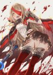 1girl absurdres bandages bangs blonde_hair blood blood_splatter bloody_bandages blunt_bangs boots buckle cape dress eyepatch fang fur_trim grey_background happy highres holding holding_weapon hood little_red_riding_hood_(sinoalice) long_hair looking_at_viewer multiple_views nomi_(kurocxx110) one_eye_covered open_mouth scratches sidelocks simple_background sinoalice solo thigh-highs thigh_boots torn_cape torn_clothes turnaround wavy_hair weapon