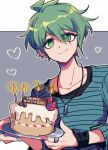 1boy amami_rantarou antenna_hair bangs birthday_cake bracelet cake candle candlelight closed_mouth commentary_request danganronpa_(series) danganronpa_v3:_killing_harmony ear_piercing earrings food fruit green_eyes green_hair grey_background hair_between_eyes happy_birthday heart jewelry long_sleeves looking_at_viewer male_focus necklace piercing plate ring sasakama_(sasagaki01) shiny shiny_hair shirt short_hair smile solo strawberry striped striped_shirt upper_body