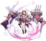 1girl artist_request azur_lane brown_hair closed_eyes full_body highres idolmaster idolmaster_(classic) long_hair looking_at_viewer minase_iori official_art one_eye_closed open_mouth pink_skirt plaid plaid_skirt rigging single_thighhigh skirt smile solo thigh-highs transparent_background turret violet_eyes white_legwear