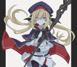 1girl artoria_pendragon_(all) artoria_pendragon_(caster)_(fate) bangs black_bow black_gloves black_ribbon blonde_hair blue_eyes bow buttons clenched_teeth cloak double-breasted fate/grand_order fate_(series) gloves hair_between_eyes hair_ribbon hat highres holding holding_staff holding_weapon kujiramaru long_hair looking_at_viewer pantyhose ribbon shaded_face skirt solo spoilers staff teeth two-sided_cloak two-sided_fabric upper_body weapon white_skirt white_uniform