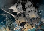 1boy 3others anchor artist_name chain clouds commentary_request damaged demizu_posuka multiple_others open_mouth original shark_print ship skull tongue watercraft waves