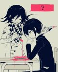 2boys :d ? bangs blood buttons chair checkered checkered_neckwear checkered_scarf closed_eyes commentary_request danganronpa_(series) danganronpa_v3:_killing_harmony hand_up holding holding_knife holding_spoon jacket knife long_sleeves looking_down male_focus multiple_boys open_mouth ouma_kokichi pink_blood plate saihara_shuuichi sasakama_(sasagaki01) scarf short_hair smile spoon spot_color table