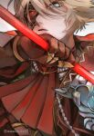 1boy blonde_hair blue_eyes cape carrier_of_disaster cravat gauntlets grimms_notes highres holding holding_weapon looking_at_viewer male_focus mask_over_one_eye red_pupils scepter short_hair solo twitter_username upper_body wawosuke02 weapon white_background
