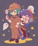 2boys :d :o bangs black_background black_ribbon blush_stickers brown_capelet brown_jacket brown_pants candy capelet commentary_request costume danganronpa_(series) danganronpa_v3:_killing_harmony deerstalker detective food frown full_body ghost green_hair hair_between_eyes hat holding jacket jester jester_cap laughing lollipop magnifying_glass male_focus multiple_boys neck_ribbon notice_lines official_alternate_costume open_mouth ouma_kokichi pants ribbon saihara_shuuichi sasakama_(sasagaki01) shiny shiny_hair short_sleeves smile standing yellow_eyes