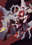 1girl absurdres arknights black_dress demon_girl demon_horns dress ghosty_(xiaobai) highres holding holding_weapon horns long_hair looking_at_viewer redhead sitting surtr_(arknights) sword thigh-highs violet_eyes weapon