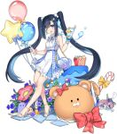 1girl ark_order bag balloon bangs belt blue_belt blue_dress blue_eyes blue_nails blunt_bangs bracelet candy candy_cane center_frills character_request cup dress facial_mark food frills fruit hatoyama_itsuru high_heels holding holding_cup holding_test_tube ice_cream jewelry lemon long_hair nail_polish official_art one_eye_closed otohime_(ark_order) paper_bag pearl_hair_ornament plaid plaid_dress scrunchie shell sidelocks solo star_balloon stuffed_animal stuffed_toy susanoo_(ark_order) tachi-e teddy_bear toenail_polish toenails twintails two-tone_dress very_long_hair waffle water_drop_hair_ornament white_dress white_footwear wrist_scrunchie