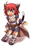 1boy :d ahoge animal_ears armor assassin_(ragnarok_online) bandages bangs blush brown_cape cape cat_ears cat_tail chibi commentary_request crossdressing emon-yu eyes_visible_through_hair fang full_body hair_between_eyes heart looking_afar male_focus misty_(ragnarok_online) open_mouth otoko_no_ko pauldrons purple_shorts ragnarok_online red_eyes redhead scarf shirt short_hair shorts shoulder_armor simple_background skin_fang sleeveless sleeveless_shirt smile solo tail waist_cape white_background white_scarf