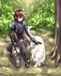 1girl asymmetrical_sleeves belt_pouch black_gloves black_leotard blue_jacket brown_hair bush cropped_jacket dog dy folded_hair forest full_body garter_straps girls'_frontline gloves gradient_hair grass grey_legwear ground gun hair_ribbon highres holding holding_gun holding_weapon jacket kneeling leotard mechanical_arms multicolored_hair nature outdoors petting pouch red_eyes redhead ribbon scope short_hair_with_long_locks single_mechanical_arm skindentation solo strap thigh-highs tied_hair tree trigger_discipline type_79_(girls'_frontline) type_79_smg weapon white_dog white_ribbon yeklsa