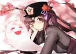 1girl absurdres arm_support bangs black_hair black_nails cherry_blossoms chinese_clothes commentary_request eyebrows_visible_through_hair flower genshin_impact ghost hair_between_eyes hat hat_flower hat_ornament head_rest highres hu_tao_(genshin_impact) long_hair long_sleeves looking_at_viewer lying on_stomach red_eyes sidelocks smile symbol-shaped_pupils yuking