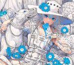 1girl bandaid blue_eyes blue_hair dog dress eating flower food hat hat_flower ice_cream minami_(minami373916) original smile white_dress