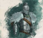 1other ambiguous_gender armor bearer_of_the_curse breastplate commentary dark_souls_ii english_commentary full_armor green_background helmet knight shimhaq solo souls_(series) upper_body