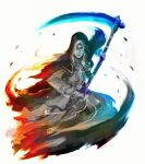 1girl ashes_of_ariandel blue_theme closed_mouth dark_souls_iii fighting_stance hair_over_one_eye helmet highres holding holding_scythe holding_weapon hood hood_up long_hair looking_at_viewer nun one_eye_covered red_theme scythe shimhaq sister_friede solo souls_(series) weapon