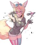 1girl alternate_costume animal_ears asymmetrical_legwear black_shirt blonde_hair blush bow braid breasts casual covered_navel cowboy_shot fangs fox_ears fox_tail gloves hair_bow hair_ornament half_gloves highres hololive kakult2017 looking_at_viewer medium_breasts microphone microphone_stand omaru_polka open_mouth serious shirt short_shorts shorts solo striped striped_legwear t-shirt tail thick_thighs thigh-highs thighs violet_eyes white_background white_shorts
