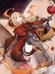 1girl apple armored_boots aya_(jhisaishi) bangs basket blonde_hair blunt_bangs book boots bow bread cape elbow_gloves eyebrows_visible_through_hair fire food fruit gloves hair_ornament hair_ribbon hairclip happy highres holding holding_basket hood hood_down knife little_red_riding_hood_(sinoalice) long_hair meat open_mouth orange_eyes ribbon shorts sinoalice solo thigh-highs zettai_ryouiki