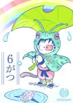 2boys :o ankle_boots antennae belt black_belt black_eyes black_hair black_wristband boots captain_ginyu child clenched_hands coat different_reflection dougi dragon_ball dragon_ball_(classic) dragon_ball_z frog_raincoat full_body green_coat highres holding holding_leaf leaf leaf_umbrella male_focus multiple_boys norita_(6110885) open_mouth pale_color puddle rainbow raincoat red_eyes reflection ripples scouter simple_background slit_pupils son_goku standing twitter_username water water_drop white_background wristband yellow_footwear