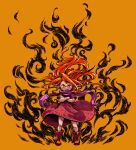 1girl child commentary_request crossed_arms dress fire floating_hair glaring hatching_(texture) highres long_hair looking_at_viewer momochichi77 open_mouth orange_background orange_hair original pointy_ears purple_scarf red_dress red_eyes red_footwear scarf short_sleeves solo standing straight-on v-shaped_eyebrows wide_shot