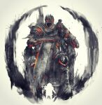 2boys cleaver crown dark_souls_iii giant giant_male highres holding holding_weapon multiple_boys shimhaq siegward_of_catarina signature sitting souls_(series) weapon yhorm_the_giant