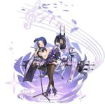 1girl ahoge artist_request azur_lane bare_shoulders black_gloves black_legwear blue_hair breasts gloves high_heels highres idolmaster idolmaster_(classic) large_breasts looking_at_viewer microphone microphone_stand miura_azusa official_art one_eye_closed open_mouth purple_footwear rigging short_hair sleeveless standing thigh-highs transparent_background turret