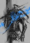 1boy abyss armor artorias_the_abysswalker blue_theme dark_souls_i full_armor helmet highres holding holding_weapon male_focus monochrome plume shimhaq solo souls_(series) weapon