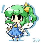! 1girl ascot blue_dress blush_stickers bow chibi collared_shirt commentary_request daiyousei dress drop_shadow eyebrows_visible_through_hair eyes_visible_through_hair fairy_wings full_body green_hair hair_bow multiple_wings no_nose puffy_short_sleeves puffy_sleeves shirt short_hair short_sleeves side_ponytail simple_background solo takasegawa_yui touhou white_background white_shirt wings yellow_bow yellow_neckwear