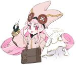 1girl bag dated fate/grand_order fate_(series) fingerless_gloves gloves habetrot_(fate) hat long_hair needle pink_eyes pink_hair pointy_ears rapizuri satchel sewing sewing_needle signature veil white_background