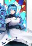1girl absurdres bangs blue_flower blue_hair blue_rose blurry commentary_request depth_of_field dress eula_(genshin_impact) eyebrows_visible_through_hair flower genshin_impact hairband highres long_hair looking_at_viewer petals rose sidelocks solo violet_eyes wedding_dress white_dress yuking