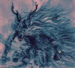 antlers bloodborne blue_theme cape facing_viewer grin highres holding horns monster shimhaq signature smile vicar_amelia werewolf
