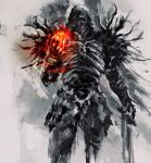 1other armor breastplate dark_souls_i darkwraith_(dark_souls) full_armor hand_up highres holding holding_sword holding_weapon hood hood_up pauldrons red_theme shimhaq shoulder_armor skeleton skull solo souls_(series) standing sword weapon