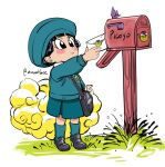 1girl amartbee bag bangs black_eyes black_footwear black_hair blue_headwear blue_legwear blue_skirt blue_sky blue_sweater blush_stickers delivery dragon_ball dragon_ball_super dragon_ball_super_super_hero flying_nimbus grass hat highres holding holding_letter kindergarten_uniform letter mailbox_(incoming_mail) mary_janes outdoors pan_(dragon_ball) piccolo school_bag school_uniform shirt shoes short_hair signature simple_background sitting skirt sky smile socks solo sweater twitter_username white_background white_shirt