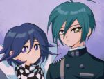 1990s_(style) 2boys ahoge alternate_hair_color arms_behind_head bangs black_hair black_jacket black_scarf blush brown_eyes buttons checkered checkered_scarf closed_mouth commentary_request danganronpa_(series) danganronpa_v3:_killing_harmony double-breasted flipped_hair frown gradient gradient_background green_hair hair_between_eyes jacket looking_at_viewer male_focus multiple_boys ouma_kokichi pink_hair profile retro_artstyle saihara_shuuichi sasakama_(sasagaki01) scarf short_hair smile white_scarf