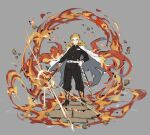 1boy absurdres belt black_pants blonde_hair cape closed_mouth fire full_body grey_background hand_on_hip highres holding holding_sword holding_weapon katana kimetsu_no_yaiba long_hair male_focus multicolored_hair pants papajay_(jennygin2) redhead rengoku_kyoujurou sheath simple_background solo standing sword thick_eyebrows unsheathed weapon white_belt
