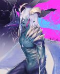 1boy blood blue_skin broken_glass claws colored_skin demon demon_boy devil_may_cry_(series) devil_may_cry_5 devil_trigger glass glowing hand_on_wall head_tilt highres horns looking_at_viewer male_focus navel nero_(devil_may_cry) pink_blood pointy_ears slit_pupils solo spikes transparent_wings white_hair wings yellow_eyes yuusya27