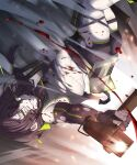 1girl bandana belt black_gloves black_hair blood blood_splatter breasts cinders crop_top elbow_gloves explosion falling fingerless_gloves firing girls'_frontline gloves glowing_lines green_eyes green_trim grin gun highres holding holding_gun holding_knife holding_weapon knife long_hair looking_at_viewer low-tied_long_hair low_twintails mac-10 mac-10_(girls'_frontline) motion_blur rabb_horn shadow short_shorts shorts small_breasts smile solo stitches submachine_gun thick_thighs thigh_pouch thigh_strap thighs torn_clothes twintails upside-down weapon