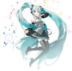 1girl aqua_eyes aqua_hair aqua_nails aqua_neckwear bare_shoulders beamed_eighth_notes black_legwear black_skirt black_sleeves boots confetti detached_sleeves floating full_body grey_shirt hair_ornament hand_on_headphones hatsune_miku headphones headset high_heels highres index_finger_raised long_hair looking_at_viewer miniskirt musical_note nail_polish necktie open_mouth piano_print pleated_skirt quarter_note rella shirt skindentation skirt sleeveless sleeveless_shirt smile solo sparkle thigh-highs thigh_boots transparent_background treble_clef twintails very_long_hair vocaloid zettai_ryouiki