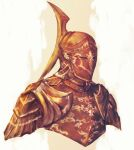 1other ambiguous_gender armor breastplate commentary english_commentary full_armor helmet highres monochrome orange_theme pauldrons shimhaq shoulder_armor solo souls_(series) upper_body