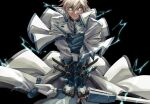 1boy angry belt black_background blonde_hair blue_eyes clenched_teeth dong_hole english_commentary fingerless_gloves gloves glowing glowing_eyes guilty_gear guilty_gear_x guilty_gear_xx highres holding holding_weapon ky_kiske lightning male_focus short_hair simple_background sword teeth weapon