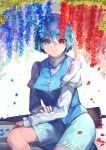 1girl bangs blue_eyes blue_flower blue_hair blue_skirt blue_vest blurry blurry_background breasts collared_shirt cross-laced_clothes depth_of_field eyebrows_visible_through_hair falling_petals feet_out_of_frame flower hair_between_eyes heterochromia highres jichou_senshi juliet_sleeves karakasa_obake large_breasts light_smile long_sleeves looking_at_viewer parted_lips petals puffy_sleeves red_eyes red_flower shirt simple_background sitting skirt solo tatara_kogasa touhou umbrella vest white_shirt wisteria