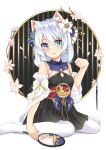 1girl :/ absurdres animal_ears artist_request bangs bare_shoulders blue_eyes breasts cat_ears chinese_clothes closed_mouth earrings fan flower hair_between_eyes hair_flower hair_ornament highres holding honkai_(series) honkai_impact_3rd jewelry leggings looking_at_viewer on_floor sitting small_breasts solo theresa_apocalypse theresa_apocalypse_(starlit_astrologos) wariza white_background white_flower white_hair white_legwear zhuge_kongming_(honkai_impact)