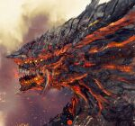 commentary demon's_souls dragon dragon_god_(demon's_souls) english_commentary from_side monochrome monster no_humans red_theme shimhaq souls_(series)