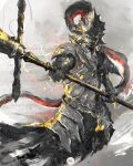 1boy armor breastplate commentary dark_souls_ii dragon_slayer_ornstein english_commentary full_armor helmet highres holding holding_polearm holding_spear holding_weapon looking_at_viewer mail_armor male_focus old_dragonslayer_(dark_souls_2) pauldrons plume polearm shimhaq shoulder_armor solo souls_(series) spear standing weapon