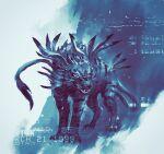 absurdres blue_theme digimon digimon_(creature) full_body garurumon highres monochrome no_humans shimhaq wolf