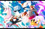 1girl 380_(380_taida) ;d backpack bag blurry bob_cut boots brown_bag brown_eyes brown_footwear brown_hair buttons cable_knit cardigan cinderace clouds commentary_request cursola day dress eiscue eiscue_(ice) energy_beam galarian_form galarian_rapidash gen_1_pokemon gen_2_pokemon gen_8_pokemon gloria_(pokemon) green_headwear green_legwear grey_cardigan hat holding holding_poke_ball one_eye_closed open_mouth outdoors pikachu pink_dress plaid plaid_legwear poke_ball poke_ball_(basic) pokemon pokemon_(creature) pokemon_(game) pokemon_swsh shiny shiny_hair short_hair sky smile socks tam_o'_shanter tongue umbreon upper_teeth