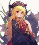 1girl bangs black_headwear black_sleeves blonde_hair bow breasts chinese_clothes closed_mouth crescent eyebrows_visible_through_hair eyes_visible_through_hair floral_background flower grey_flower hand_up hat highres junko_(touhou) light lily_(flower) long_hair long_sleeves looking_at_viewer medium_breasts moshihimechan pom_pom_(clothes) red_eyes red_vest shadow smile solo touhou vest white_background wide_sleeves yellow_bow yellow_neckwear