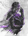1girl armor breastplate commentary dark_souls_iii english_commentary full_armor gauntlets hand_up helmet highres long_hair monochrome purple_theme shimhaq solo souls_(series) upper_body yuria_of_londor