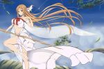 1girl asuna_(sao) bare_shoulders barefoot blue_sky blush braid breasts brown_eyes brown_hair clouds elf gray_(hui_tong) highres large_breasts leaf long_hair navel pointy_ears side_braid sky solo standing standing_on_one_leg sword_art_online titania_(sao) tree tree_branch very_long_hair